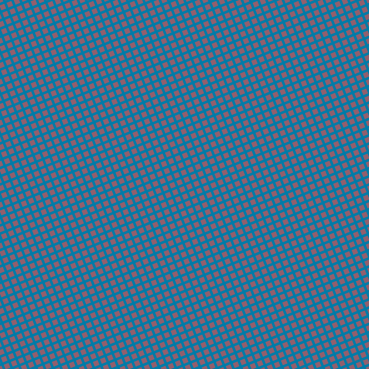 22/112 degree angle diagonal checkered chequered lines, 5 pixel lines width, 10 pixel square size, Cerulean and Mauve Taupe plaid checkered seamless tileable