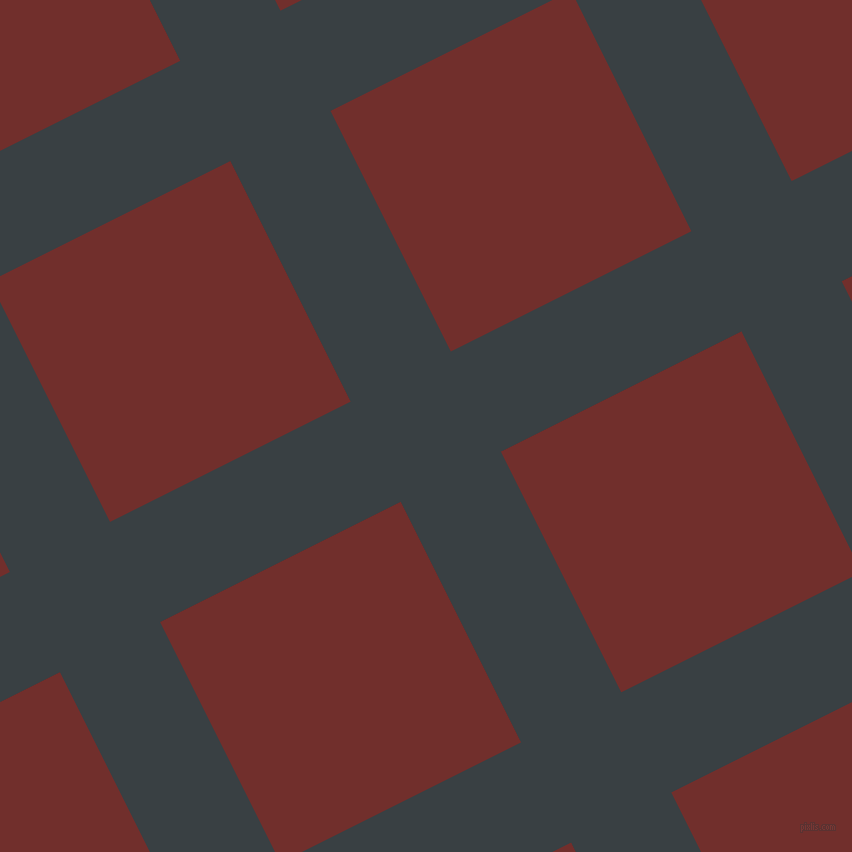 27/117 degree angle diagonal checkered chequered lines, 112 pixel lines width, 269 pixel square size, Charade and Auburn plaid checkered seamless tileable