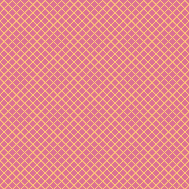 45/135 degree angle diagonal checkered chequered lines, 3 pixel lines width, 16 pixel square size, Chardonnay and Pale Violet Red plaid checkered seamless tileable