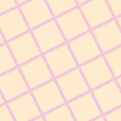 27/117 degree angle diagonal checkered chequered lines, 11 pixel line width, 84 pixel square size, Classic Rose and Blanched Almond plaid checkered seamless tileable