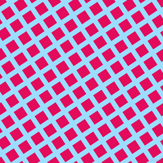 34/124 degree angle diagonal checkered chequered lines, 17 pixel lines width, 35 pixel square size, Columbia Blue and Razzmatazz plaid checkered seamless tileable