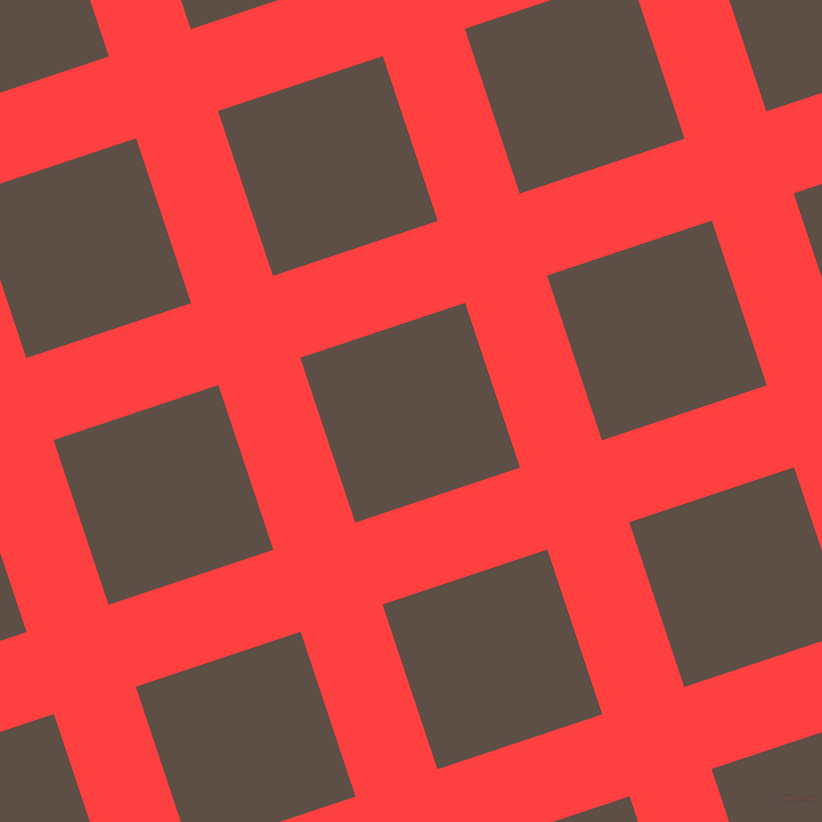 18/108 degree angle diagonal checkered chequered lines, 97 pixel line width, 195 pixel square size, Coral Red and Saddle plaid checkered seamless tileable