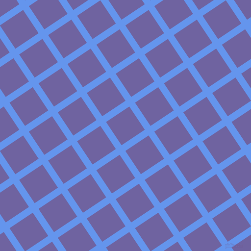 34/124 degree angle diagonal checkered chequered lines, 14 pixel lines width, 57 pixel square size, Cornflower Blue and Scampi plaid checkered seamless tileable