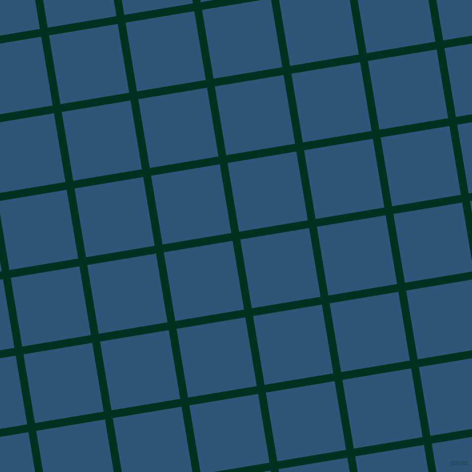 9/99 degree angle diagonal checkered chequered lines, 16 pixel line width, 141 pixel square size, Dark Green and Venice Blue plaid checkered seamless tileable