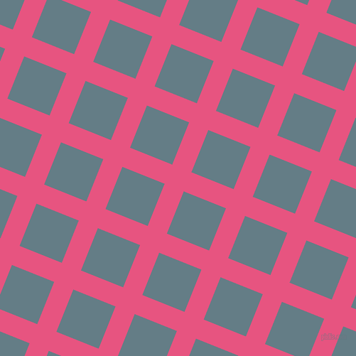68/158 degree angle diagonal checkered chequered lines, 29 pixel lines width, 64 pixel square size, Dark Pink and Hoki plaid checkered seamless tileable