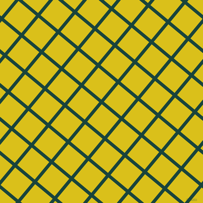50/140 degree angle diagonal checkered chequered lines, 11 pixel lines width, 76 pixel square size, Deep Teal and Sunflower plaid checkered seamless tileable