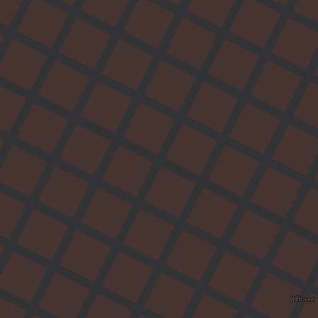 63/153 degree angle diagonal checkered chequered lines, 12 pixel line width, 55 pixel square size, Ebony and Cedar plaid checkered seamless tileable