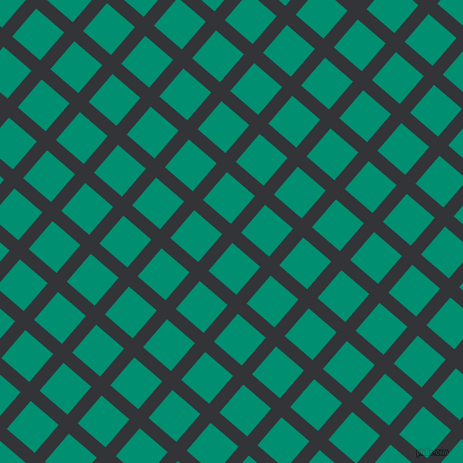 49/139 degree angle diagonal checkered chequered lines, 15 pixel line width, 41 pixel square size, Ebony Clay and Observatory plaid checkered seamless tileable