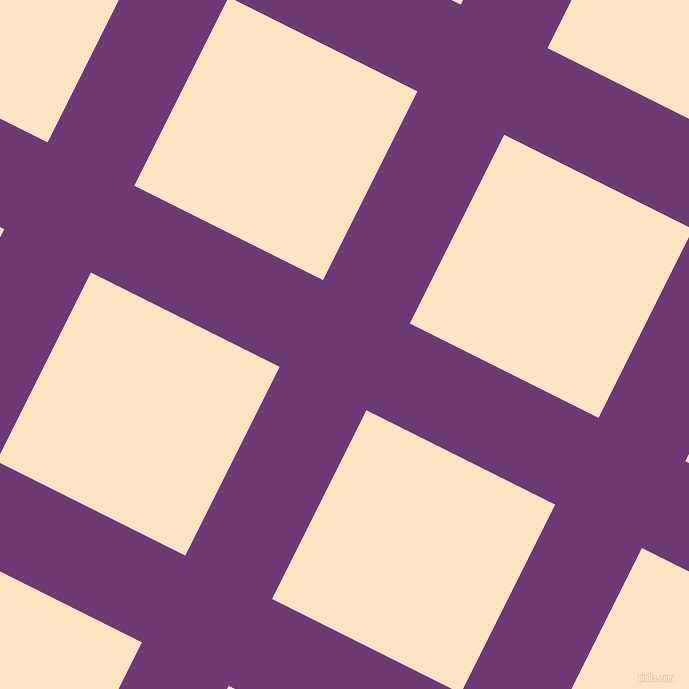 63/153 degree angle diagonal checkered chequered lines, 97 pixel line width, 211 pixel square size, Eminence and Bisque plaid checkered seamless tileable