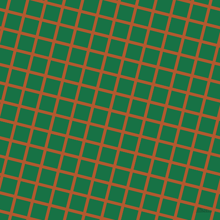 76/166 degree angle diagonal checkered chequered lines, 6 pixel lines width, 29 pixel square size, Fiery Orange and Dark Spring Green plaid checkered seamless tileable