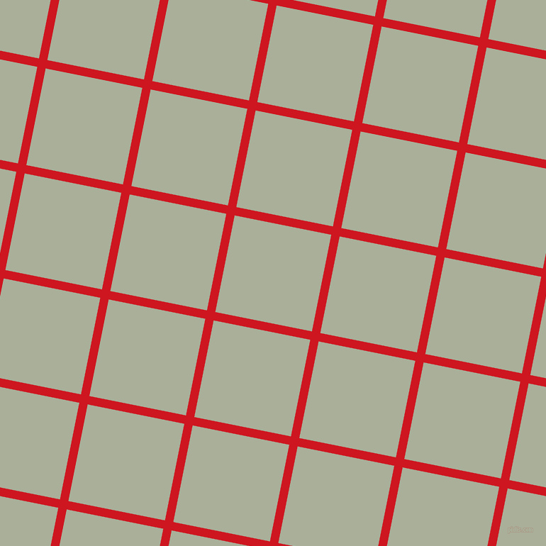 79/169 degree angle diagonal checkered chequered lines, 12 pixel lines width, 139 pixel square size, Fire Engine Red and Green Spring plaid checkered seamless tileable