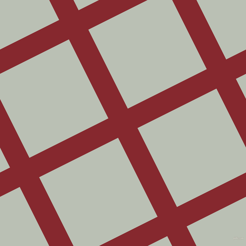 27/117 degree angle diagonal checkered chequered lines, 75 pixel line width, 305 pixel square size, Flame Red and Pumice plaid checkered seamless tileable