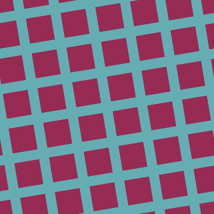 9/99 degree angle diagonal checkered chequered lines, 33 pixel line width, 83 pixel square size, Fountain Blue and Lipstick plaid checkered seamless tileable