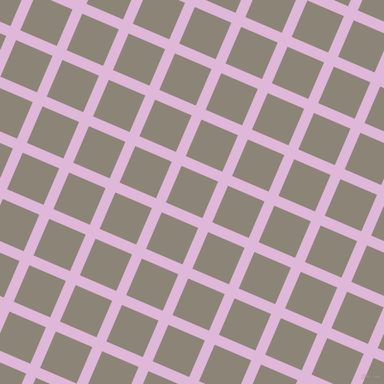 67/157 degree angle diagonal checkered chequered lines, 21 pixel line width, 78 pixel square size, French Lilac and Schooner plaid checkered seamless tileable