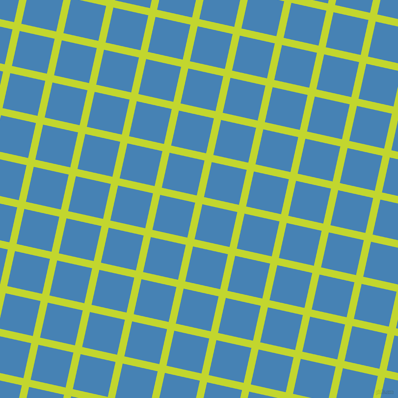 77/167 degree angle diagonal checkered chequered lines, 15 pixel lines width, 73 pixel square size, Fuego and Steel Blue plaid checkered seamless tileable