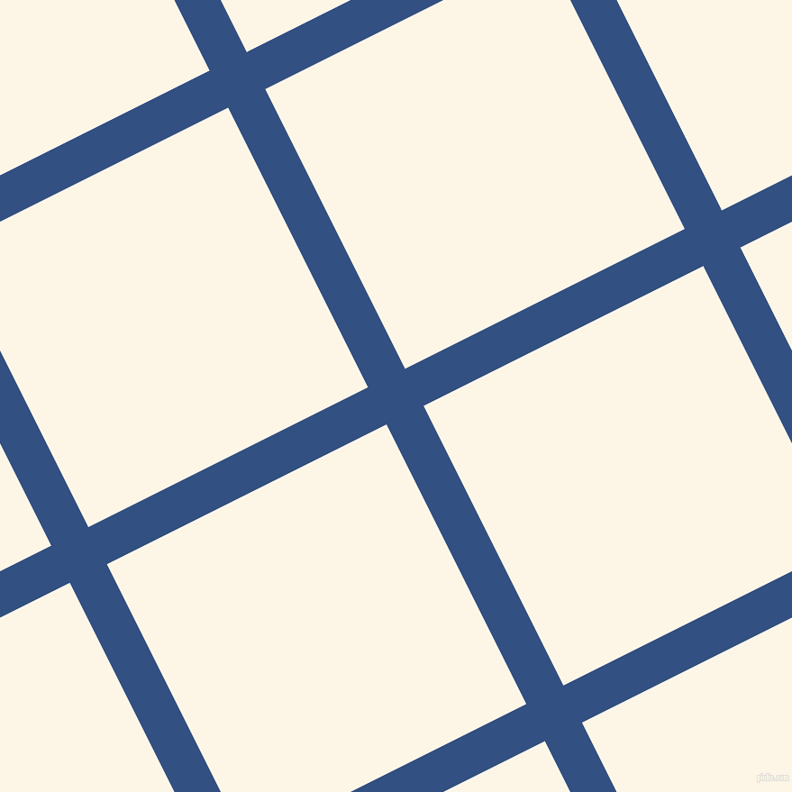 27/117 degree angle diagonal checkered chequered lines, 46 pixel lines width, 347 pixel square size, Fun Blue and Old Lace plaid checkered seamless tileable