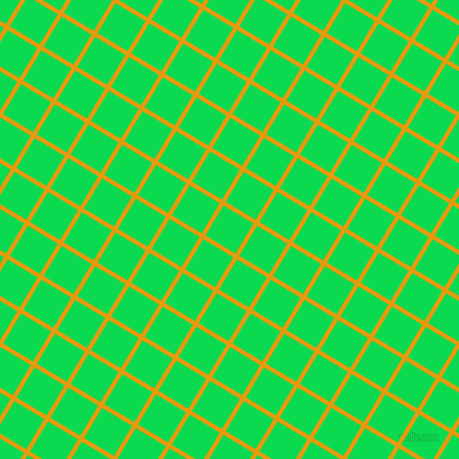 59/149 degree angle diagonal checkered chequered lines, 4 pixel lines width, 32 pixel square size, Gamboge and Malachite plaid checkered seamless tileable