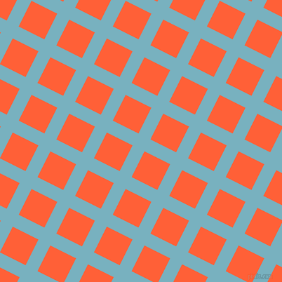 63/153 degree angle diagonal checkered chequered lines, 19 pixel line width, 41 pixel square size, Glacier and Outrageous Orange plaid checkered seamless tileable