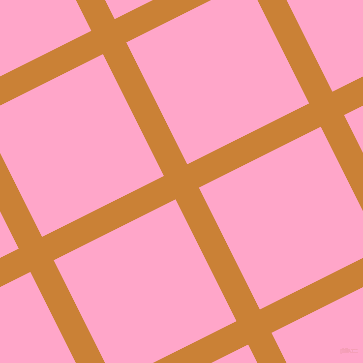 27/117 degree angle diagonal checkered chequered lines, 53 pixel lines width, 277 pixel square size, Golden Bell and Carnation Pink plaid checkered seamless tileable