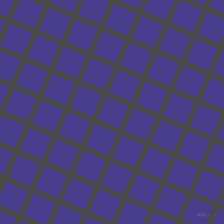 67/157 degree angle diagonal checkered chequered lines, 10 pixel lines width, 48 pixel square size, Gravel and Dark Slate Blue plaid checkered seamless tileable