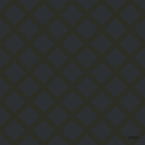 45/135 degree angle diagonal checkered chequered lines, 18 pixel line width, 51 pixel square size, Green Waterloo and Cod Grey plaid checkered seamless tileable