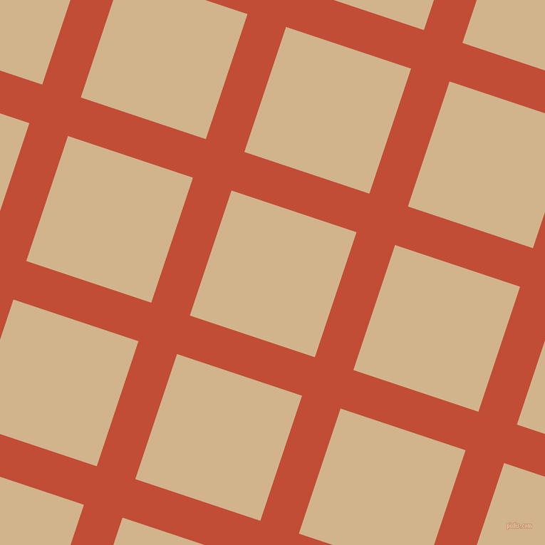 72/162 degree angle diagonal checkered chequered lines, 57 pixel line width, 185 pixel square size, Grenadier and Tan plaid checkered seamless tileable