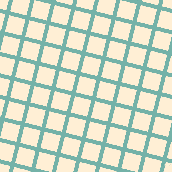 76/166 degree angle diagonal checkered chequered lines, 14 pixel line width, 59 pixel square size, Gulf Stream and Papaya Whip plaid checkered seamless tileable