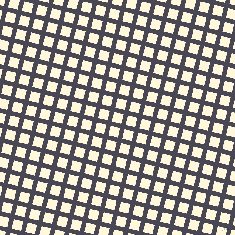 76/166 degree angle diagonal checkered chequered lines, 15 pixel line width, 32 pixel square size, Gun Powder and Corn Silk plaid checkered seamless tileable