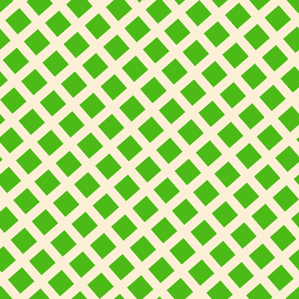 41/131 degree angle diagonal checkered chequered lines, 19 pixel lines width, 38 pixel square size, Half Dutch White and Kelly Green plaid checkered seamless tileable