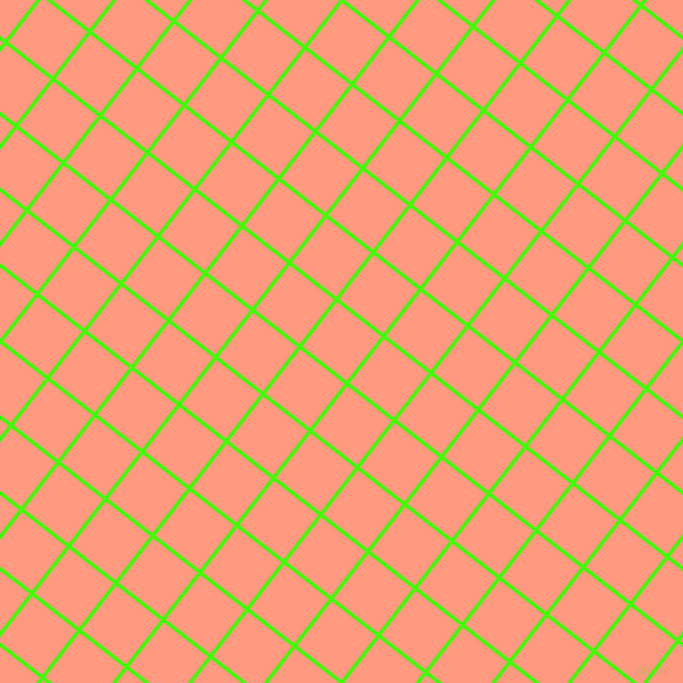 52/142 degree angle diagonal checkered chequered lines, 4 pixel lines width, 62 pixel square size, Harlequin and Vivid Tangerine plaid checkered seamless tileable