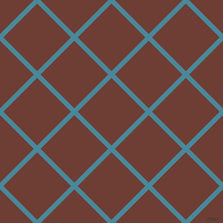 45/135 degree angle diagonal checkered chequered lines, 16 pixel line width, 161 pixel square size, Hippie Blue and Metallic Copper plaid checkered seamless tileable