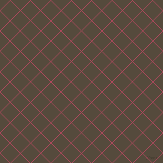 45/135 degree angle diagonal checkered chequered lines, 2 pixel line width, 46 pixel square size, Hippie Pink and Metallic Bronze plaid checkered seamless tileable