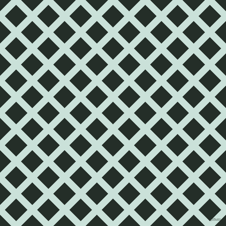 45/135 degree angle diagonal checkered chequered lines, 24 pixel line width, 56 pixel square size, Iceberg and Midnight Moss plaid checkered seamless tileable
