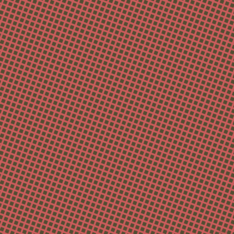 69/159 degree angle diagonal checkered chequered lines, 7 pixel lines width, 14 pixel square size, Indian Red and Camouflage plaid checkered seamless tileable