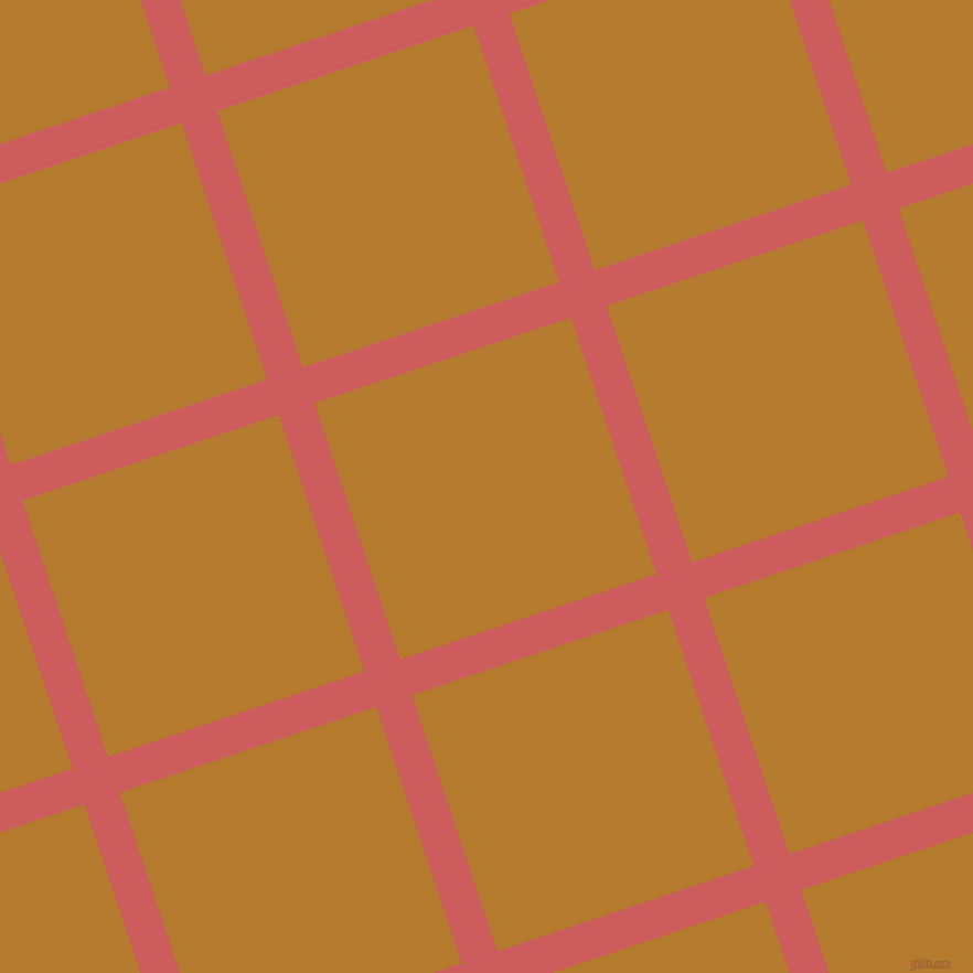 18/108 degree angle diagonal checkered chequered lines, 34 pixel lines width, 245 pixel square size, Indian Red and Mandalay plaid checkered seamless tileable
