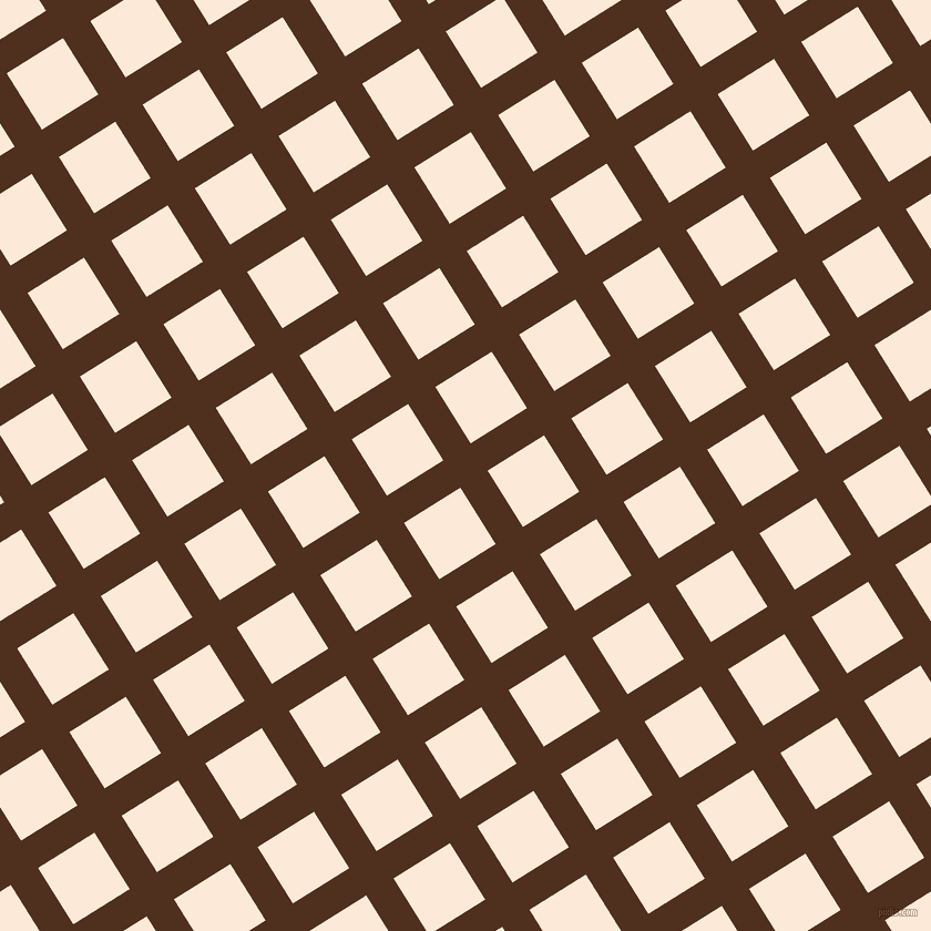 32/122 degree angle diagonal checkered chequered lines, 29 pixel line width, 60 pixel square size, Indian Tan and Serenade plaid checkered seamless tileable