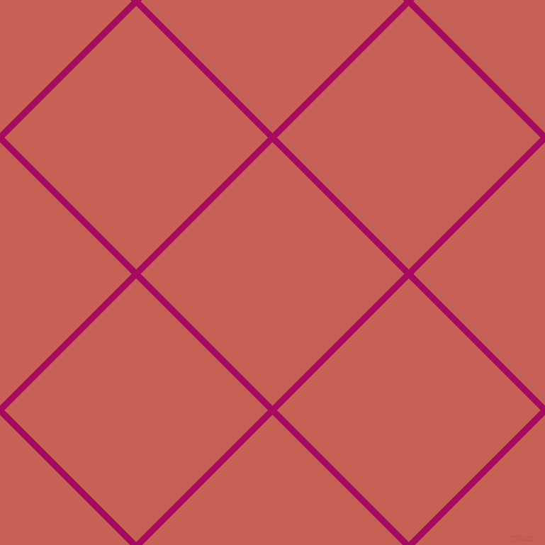 45/135 degree angle diagonal checkered chequered lines, 9 pixel line width, 263 pixel square size, Jazzberry Jam and Sunglo plaid checkered seamless tileable