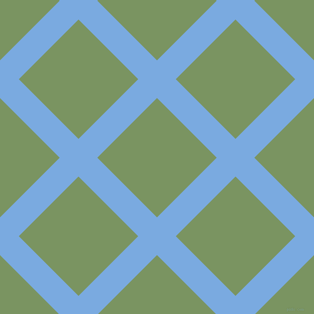 45/135 degree angle diagonal checkered chequered lines, 53 pixel lines width, 168 pixel square size, Jordy Blue and Highland plaid checkered seamless tileable