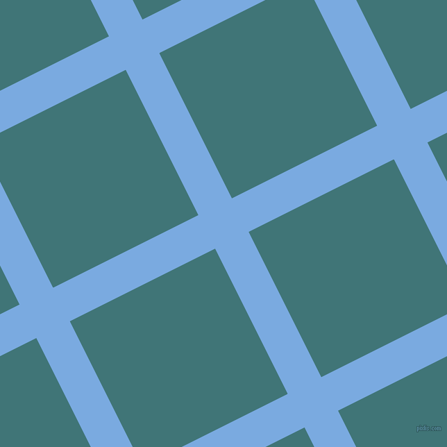 27/117 degree angle diagonal checkered chequered lines, 54 pixel line width, 234 pixel square size, Jordy Blue and Ming plaid checkered seamless tileable
