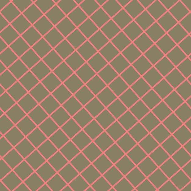 42/132 degree angle diagonal checkered chequered lines, 5 pixel lines width, 47 pixel square size, Light Coral and Olive Haze plaid checkered seamless tileable