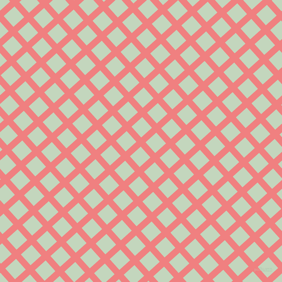 42/132 degree angle diagonal checkered chequered lines, 13 pixel lines width, 29 pixel square size, Light Coral and Surf Crest plaid checkered seamless tileable