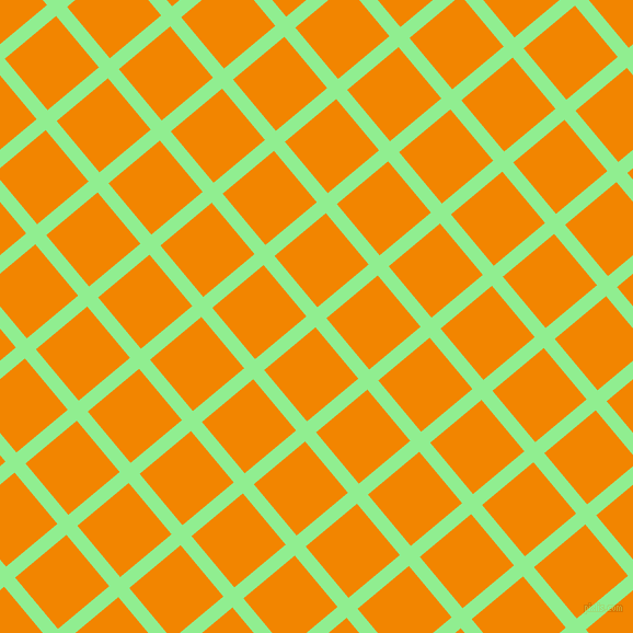 40/130 degree angle diagonal checkered chequered lines, 13 pixel line width, 61 pixel square size, Light Green and Tangerine plaid checkered seamless tileable