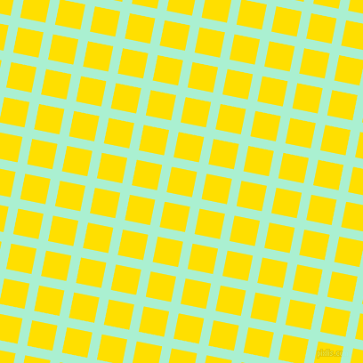 79/169 degree angle diagonal checkered chequered lines, 11 pixel lines width, 29 pixel square size, Magic Mint and Golden Yellow plaid checkered seamless tileable