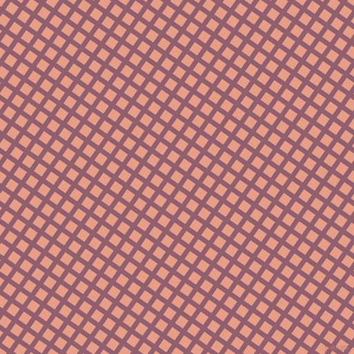 55/145 degree angle diagonal checkered chequered lines, 7 pixel line width, 14 pixel square size, Mauve Taupe and Tonys Pink plaid checkered seamless tileable