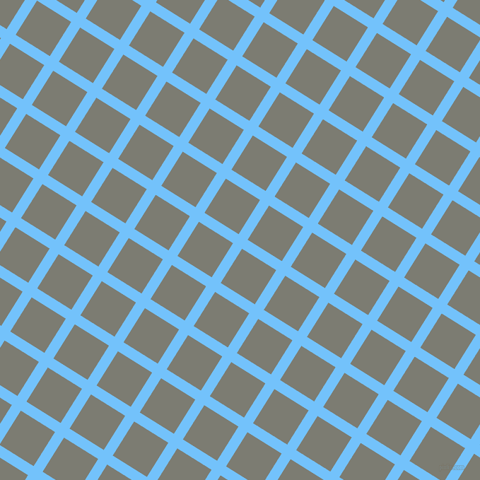 58/148 degree angle diagonal checkered chequered lines, 15 pixel line width, 57 pixel square size, Maya Blue and Tapa plaid checkered seamless tileable