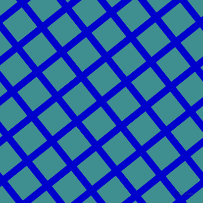 39/129 degree angle diagonal checkered chequered lines, 14 pixel lines width, 50 pixel square size, Medium Blue and Blue Chill plaid checkered seamless tileable