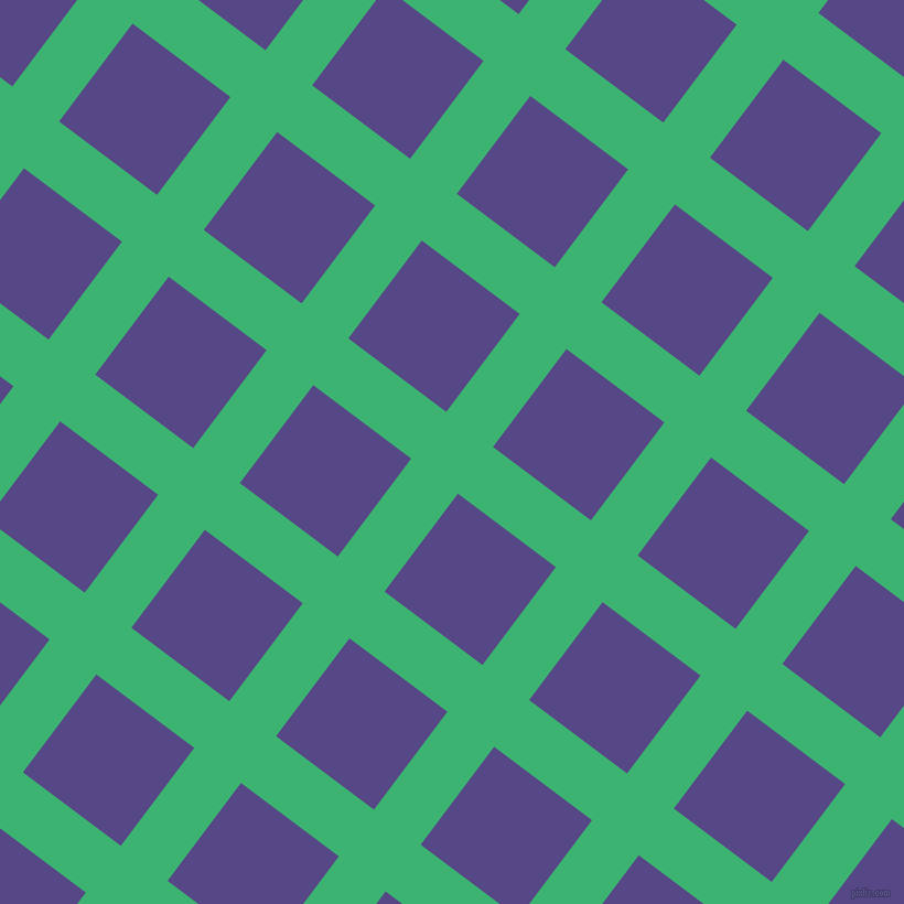53/143 degree angle diagonal checkered chequered lines, 53 pixel line width, 111 pixel square size, Medium Sea Green and Gigas plaid checkered seamless tileable