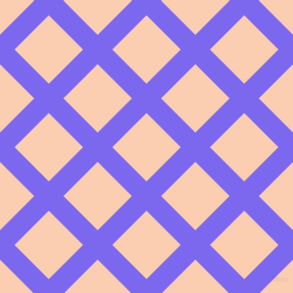 45/135 degree angle diagonal checkered chequered lines, 41 pixel lines width, 96 pixel square size, Medium Slate Blue and Apricot plaid checkered seamless tileable