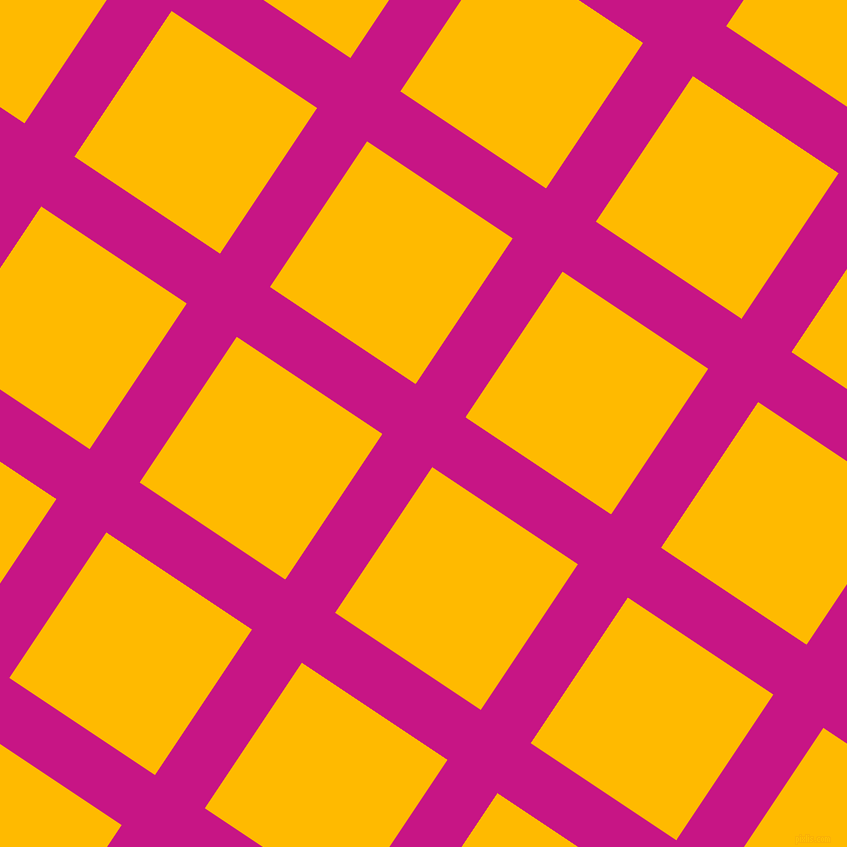 56/146 degree angle diagonal checkered chequered lines, 60 pixel line width, 175 pixel square size, Medium Violet Red and Selective Yellow plaid checkered seamless tileable