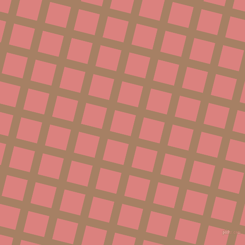 76/166 degree angle diagonal checkered chequered lines, 16 pixel line width, 42 pixel square size, Medium Wood and Sea Pink plaid checkered seamless tileable
